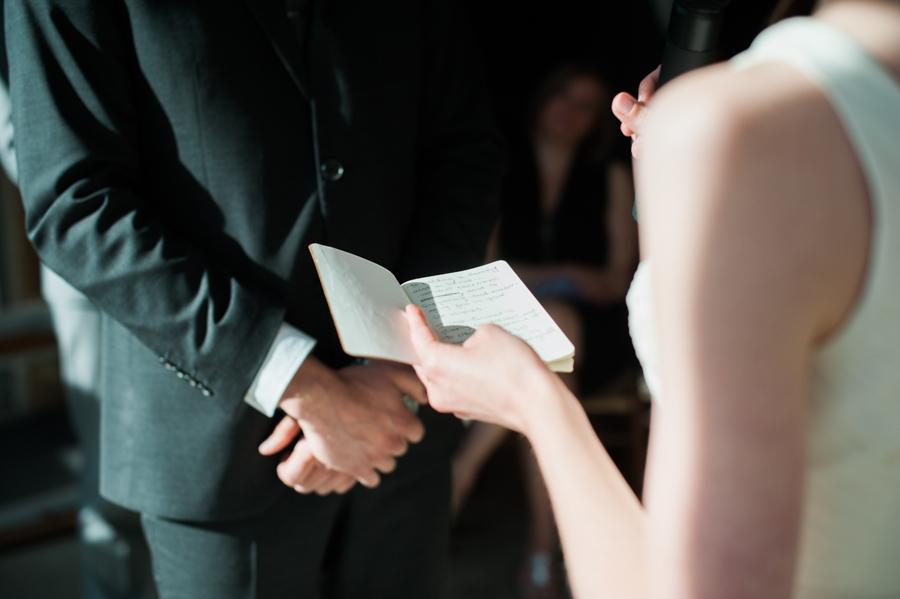 Big Love Wedding Design, Toronto Wedding, Boehmer, intimate restaurant ceremony, vows