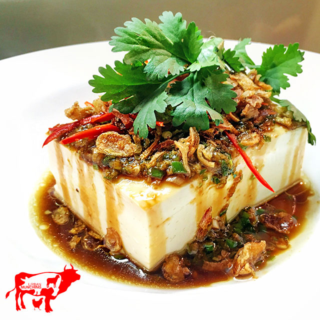 Steamed Silken Tofu topped with ginger, shallots and soy Photo: Tim Elwin