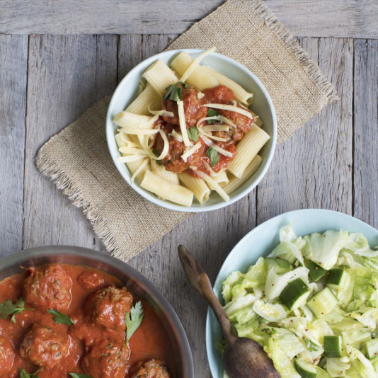 Traditional Italian Meatballs with Rigatoni Pasta and Chopped Green Salad Image Sourced from myfoodbag.com.au