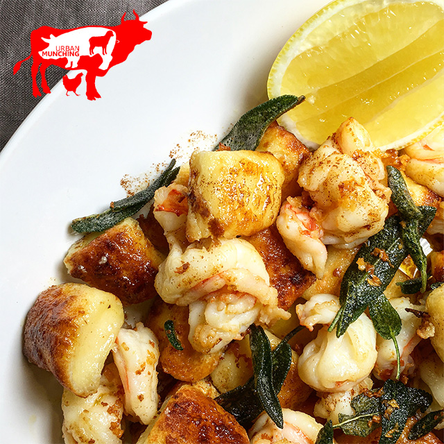 Pan Fried Ricotta Gnocchi, Prawns Sage & Burnt Butter Photo: Tim Elwin