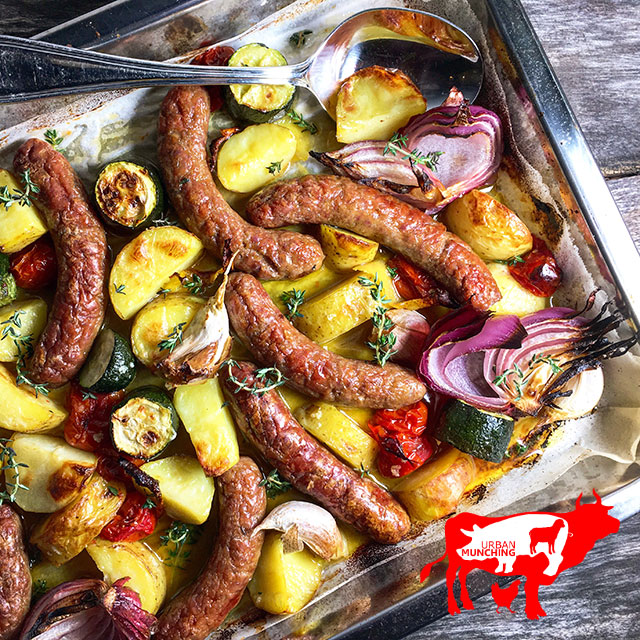 Baked Chipolata & Vegetables Photo: Tim Elwin