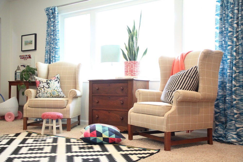 Living Room Wingback Chairs and DIY Pinch Pleat Curtains