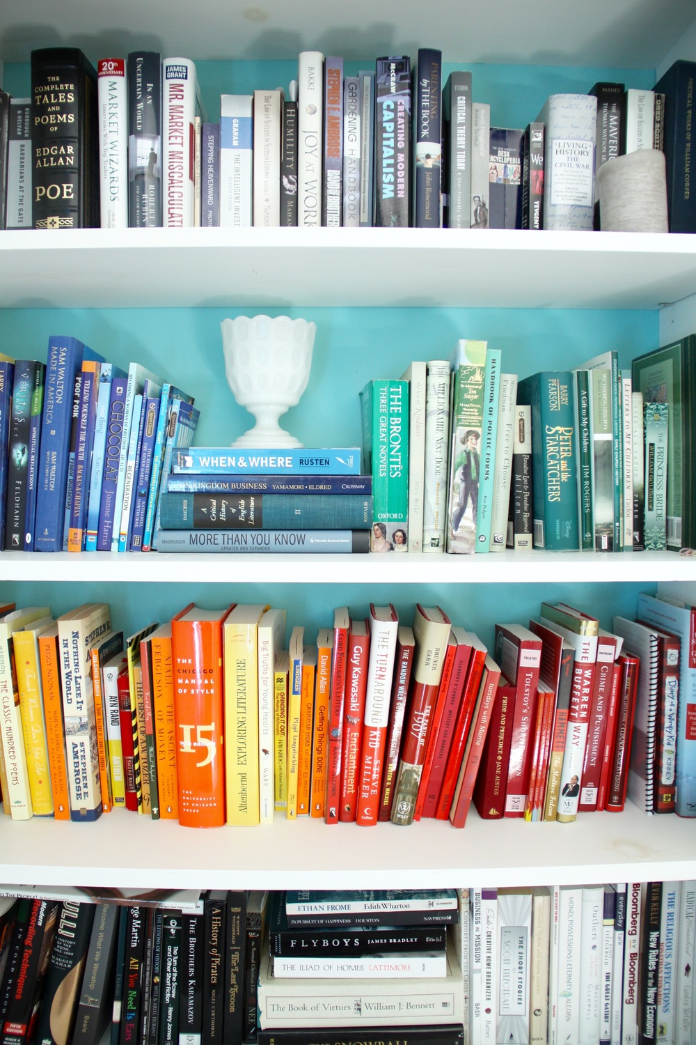 DIY Bookshelves with Colorful Books