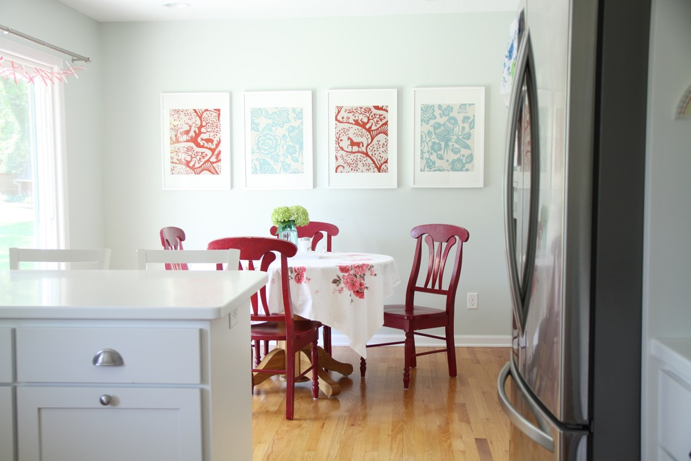 Dining Area with Framed Fabric Art