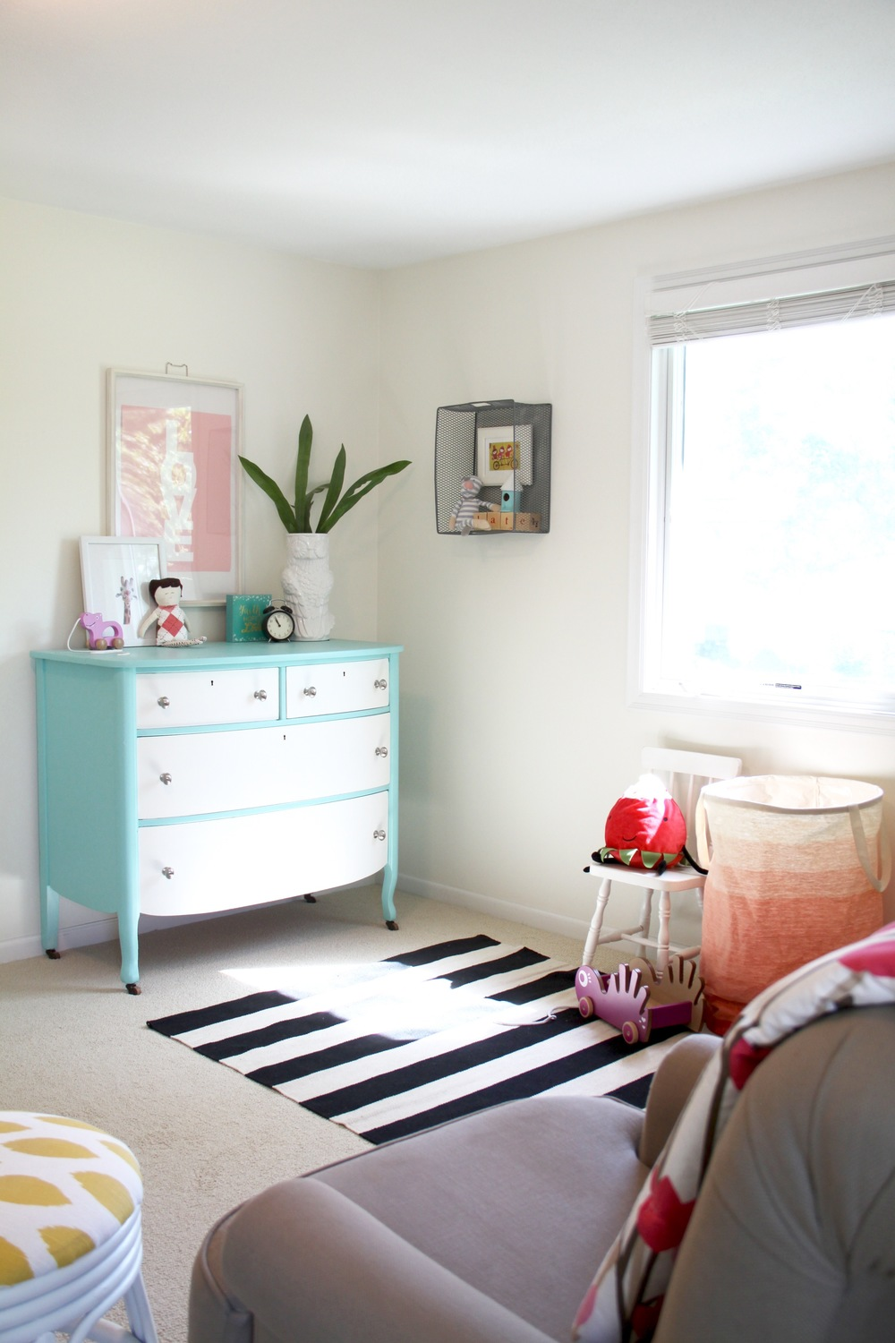 Nursery Striped Rug and Painted Dresser
