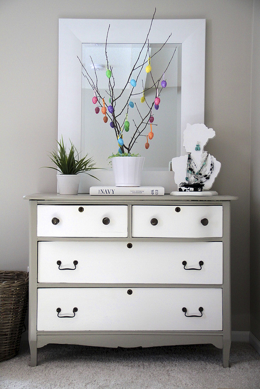 DIY Easter Tree on DIY Refurbished Dresser