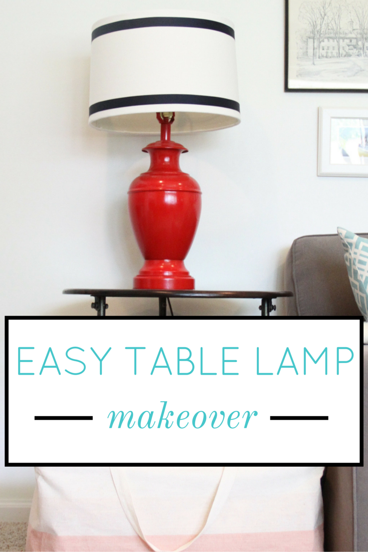 Easy Table Lamp Makeover with Spray Paint and Ribbon