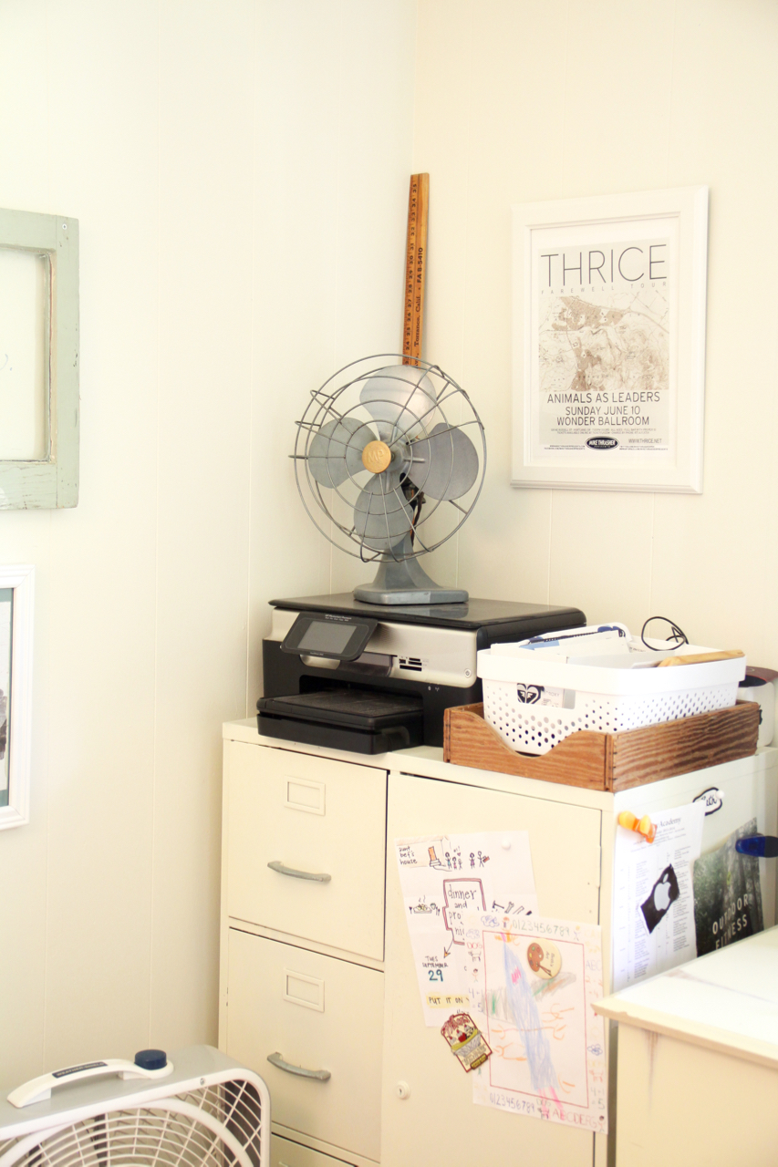 Filing Cabinets in Corner with Vintage Fan and Thrice Poster
