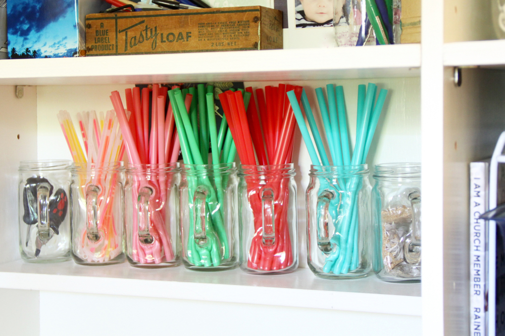 Colorful Straws in Glass Jars