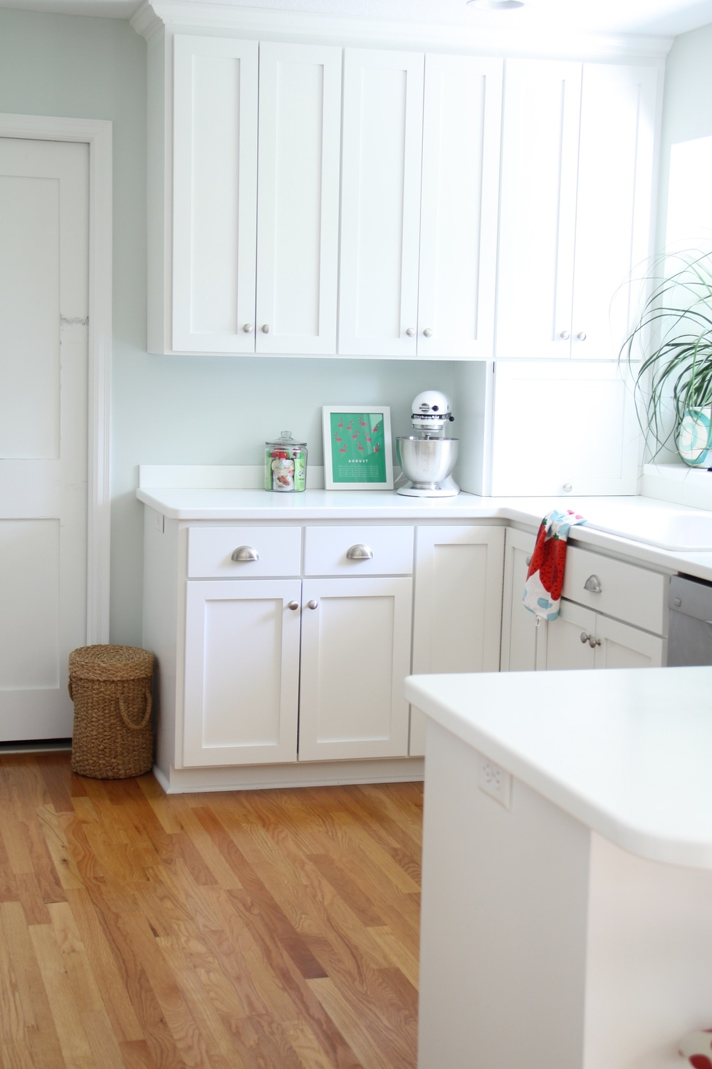Benjamin Moore Healing Aloe White Kitchen
