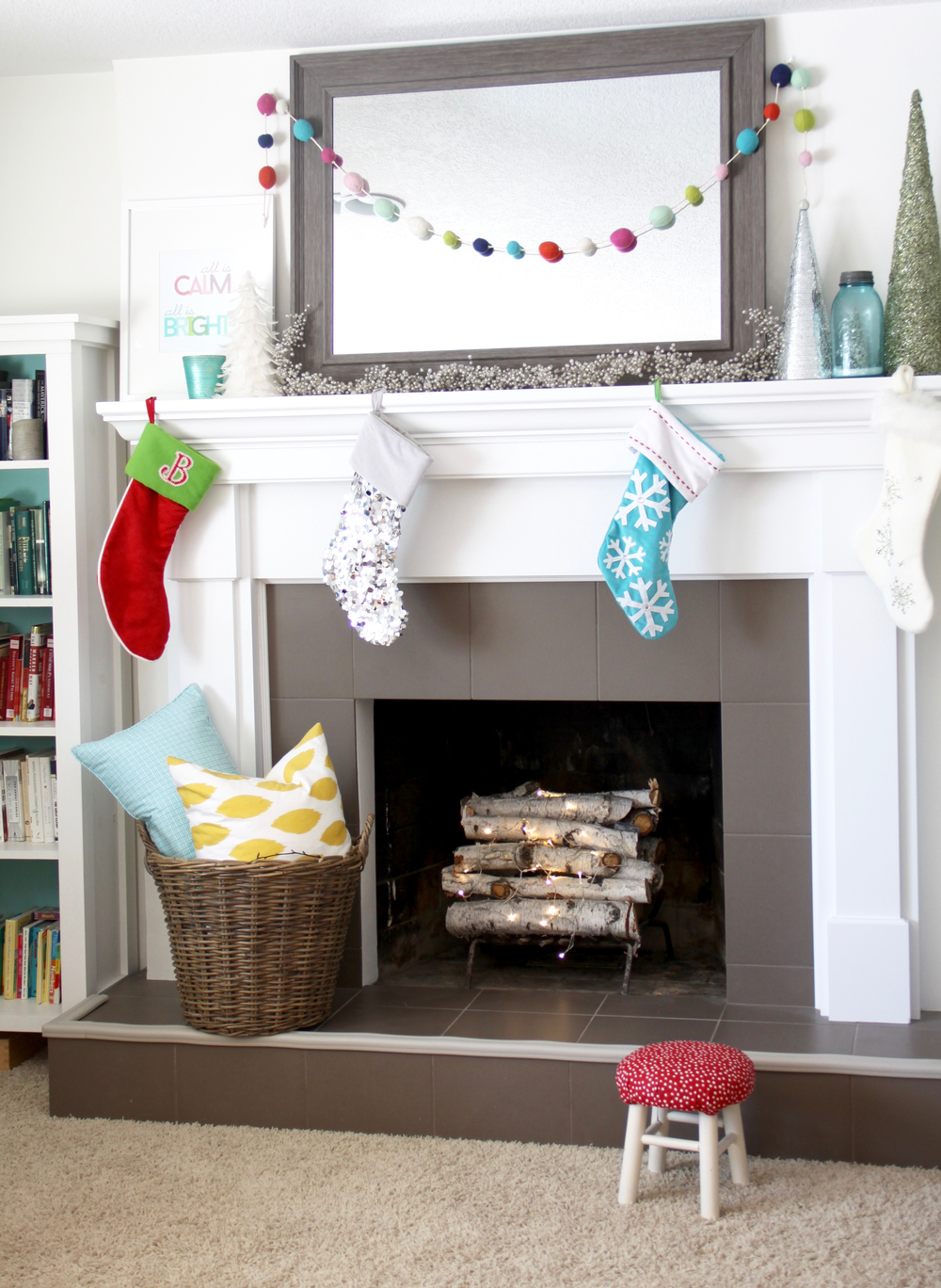 Christmas Decorating with Bright Colors, Christmas Mantel