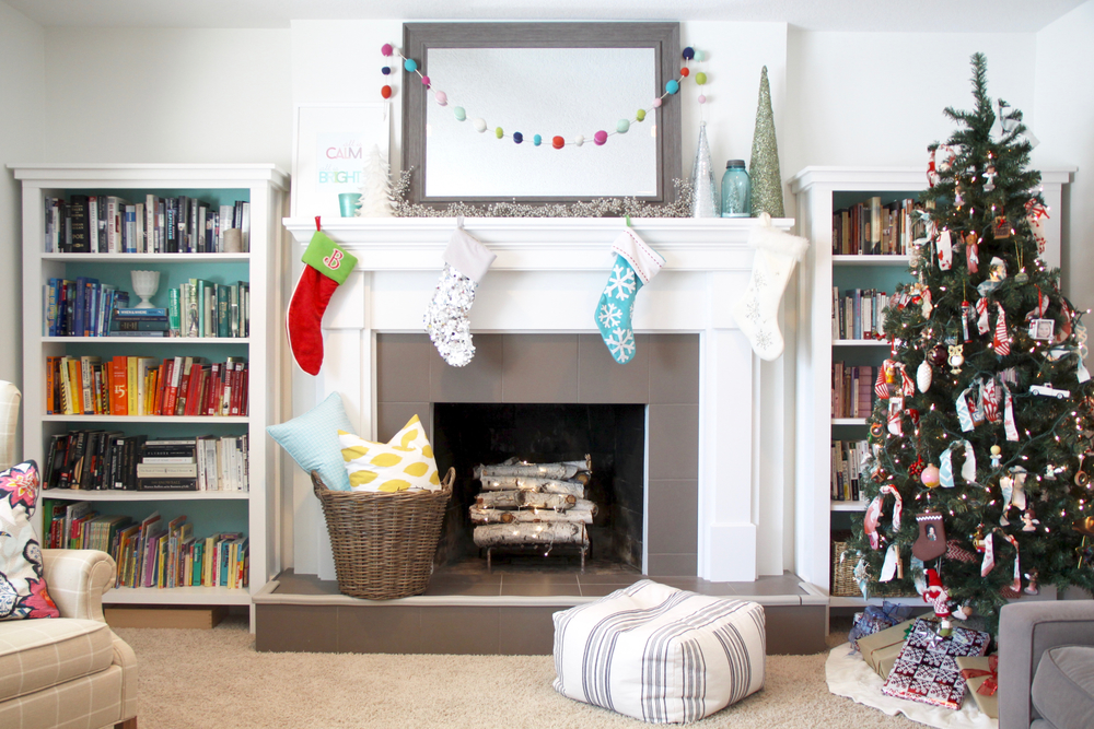 Christmas Mantel with Bright Colors