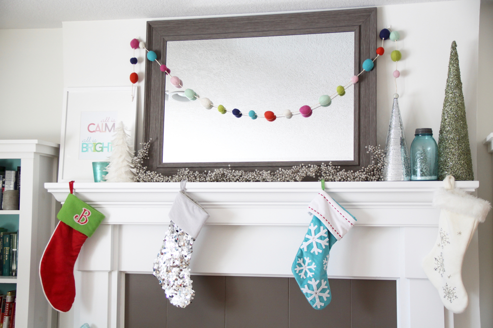 Bright Christmas Stockings on the White Mantel