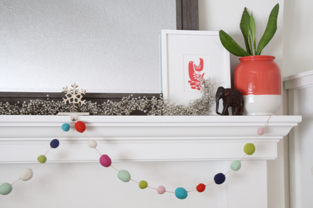 Bright Winter Mantel Decorations