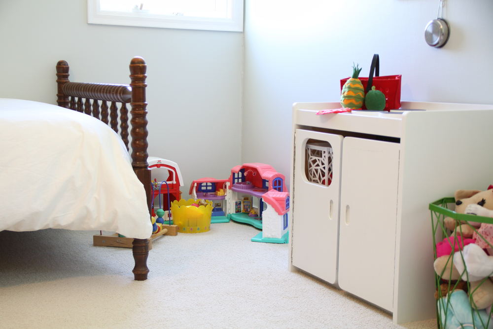 Girl's Room with White Walls and Play Kitchen