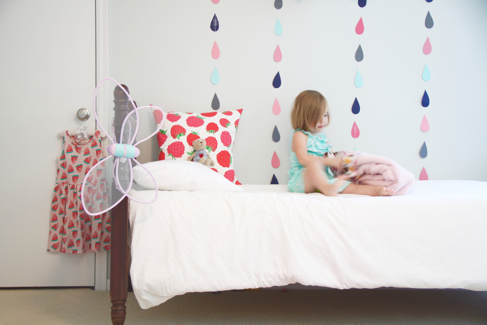 Girl's Room with Raindrop DIY Art