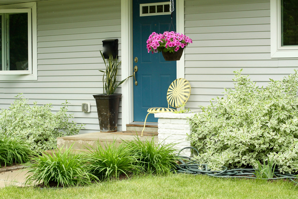 Front door with built-in planter