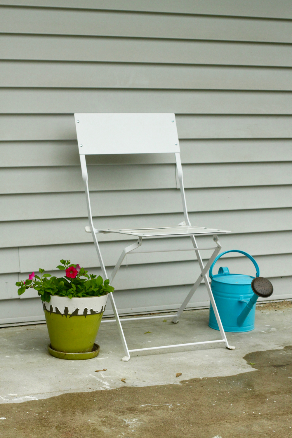 Garden chair, watering can, and flowers