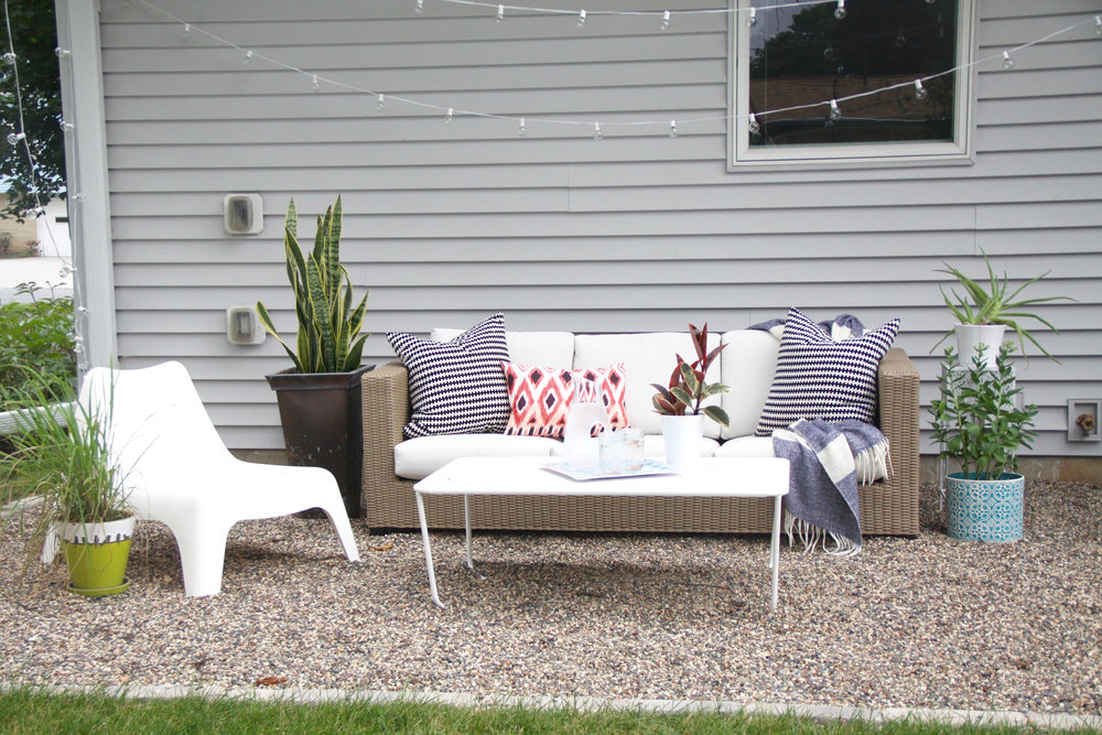 DIY Pea Gravel Patio with Outdoor Sofa