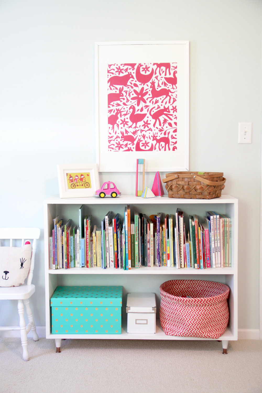 DIY Minimalist Bookshelf with Midcentury Gold Legs Childrens Room