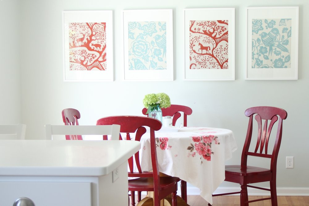 Dining area with red and aqua