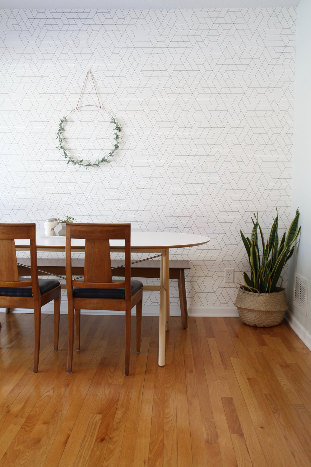IKEA SLAHULT Dining table with graphic wallpaper and midcentury chairs