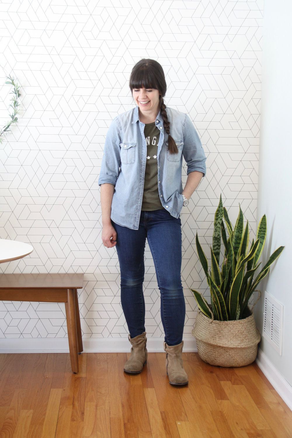 Spring 10x10 Wardrobe Challenge Chambray with Madewell Skinny Jeans
