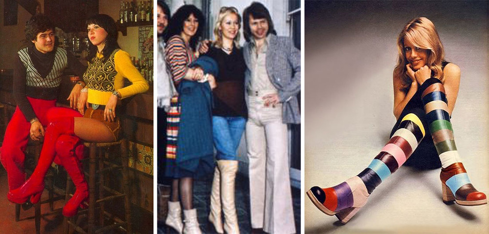 Hot pants, Abba, multicolored boots circa1974