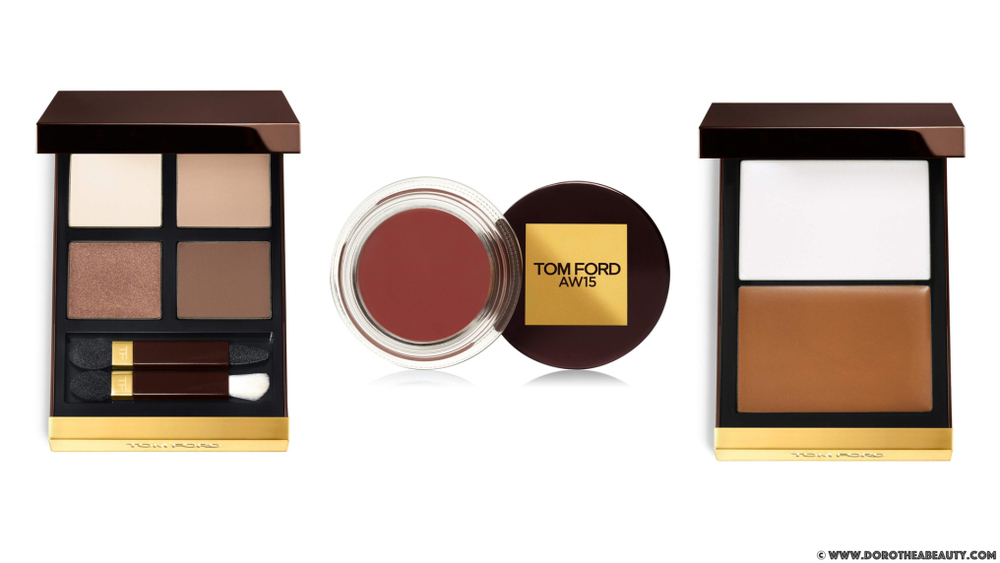 Tom Ford AW 2015 Runway Color: Eye Quad in Cocoa Mirage (left), Runway Color in AW15 (middle) and Shade and Illuminate in Intensity One (right) via dorotheabeauty.com