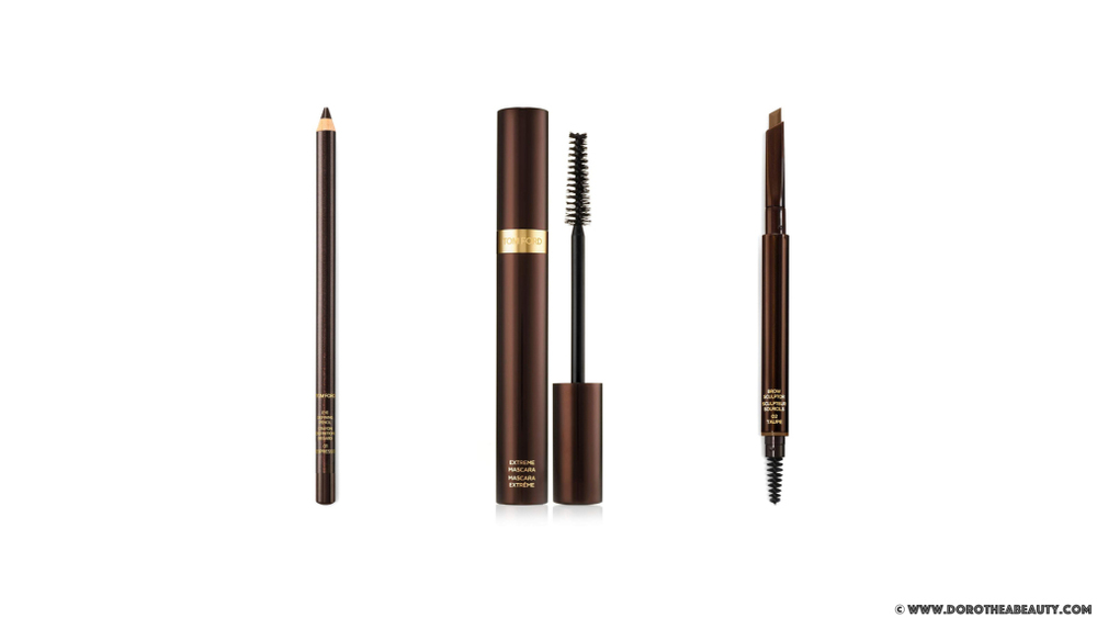 Tom Ford AW 2015 Runway Color: Eye Defining Pencil in Espresso (left), Extreme Mascara in Raven (middle) and Brow Sculptor in Taupe (right) via dorotheabeauty.com