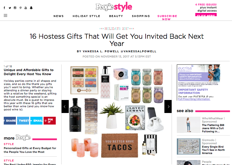 16 Hostess Gifts That Will Get You Invited Back Next Year - By: Vanessa L. Powell for People.com