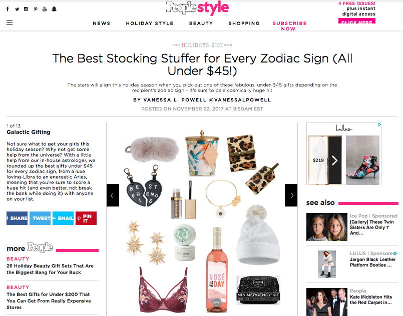 The Best Stocking Stuffer For Every Zodiac Sign (All Under $45!) - By: Vanessa L. Powell for People.com