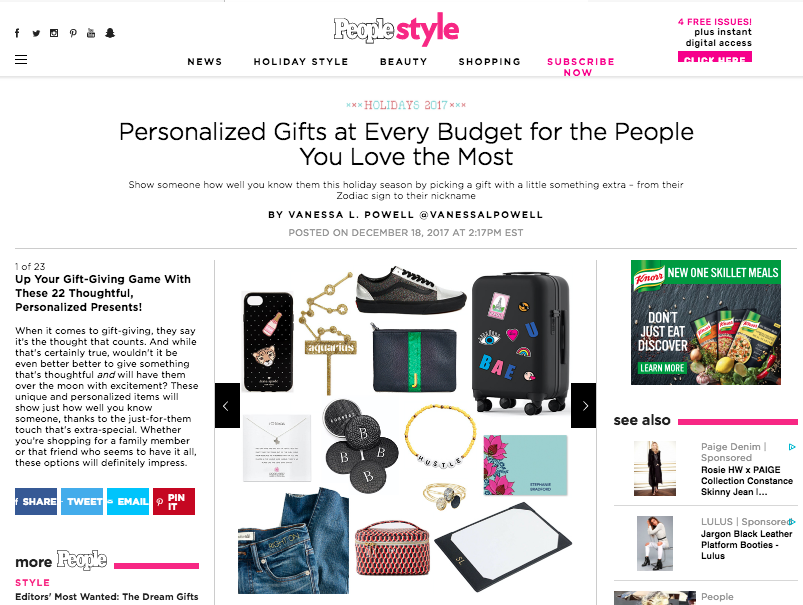 Personalized Gifts At Every Budget For The People You Love The Most - By: Vanessa L. Powell for People.com