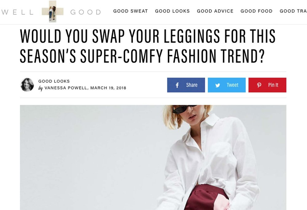 Would You Swap Your Leggings For This Season's Super-Comfy Fashion Trend? - By: Vanessa L. Powell for WellAndGood.com