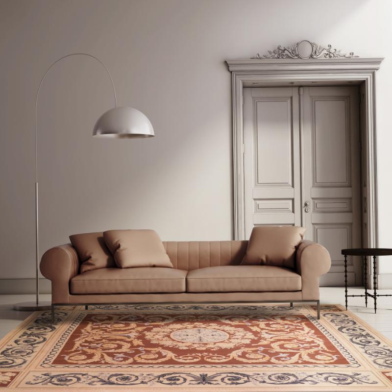 法式手刺繡羊毛毯#000858  8.3 x 10 (249 x 300 cm)