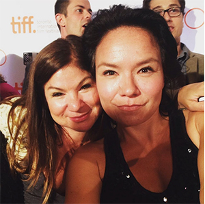 Laura Milliken (left) and Jennifer Podemski (right) at the press launch for TIFF. I'm the goof on the left in the BG.