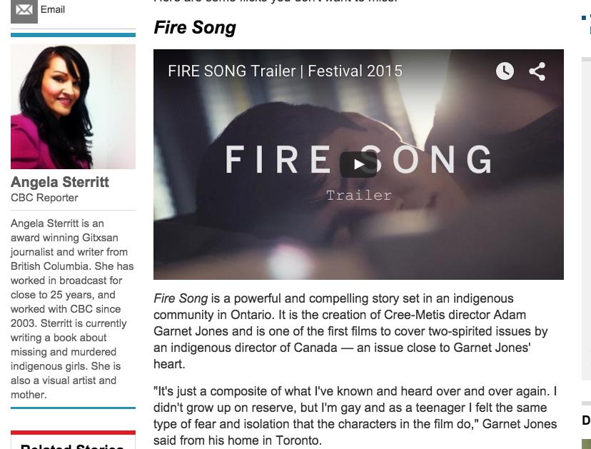 Adam Garnet Jones , Fire Song, Winnipeg Aboriginal Film Festival