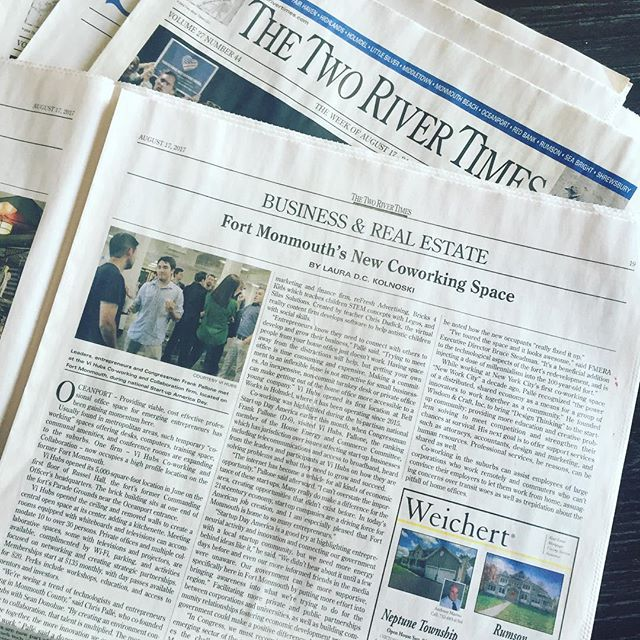 Stoked to be in @thetworivertimes this week! Thanks to our amazing community of entrepreneurs and professionals for making it newsworthy! Come be a part of this amazing redevelopment in #fortmonmouth. Let's grow! #wearevi #fortmonmouth #jerseyshore #njtech #startuplife #coworking #startup #humbled #ecosystem #placemaking