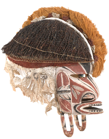 Tatanua (mask for funerary ceremony). Malagan culture, New Ireland, Nusa Island, Papua New Guinea, late 19th century. Wood, shell, pigment, plant fiber, seed, resin, bark cloth, paper. Courtesy of the Division of Anthropology, American Museum of Natural History, ST/ 691