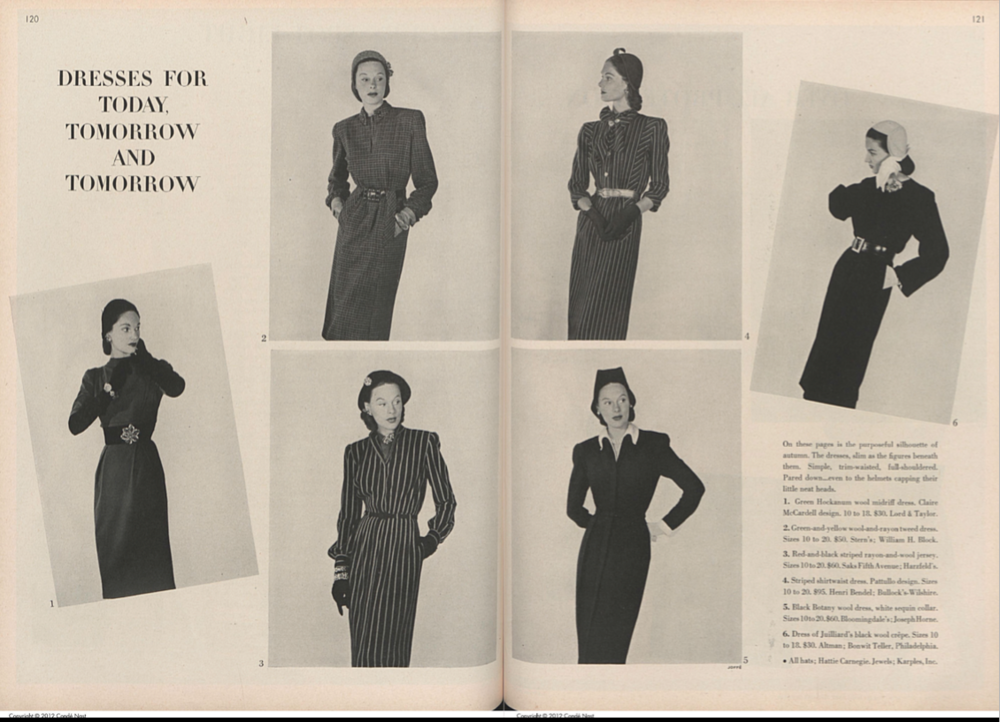 """Smart"" 1940s dress for young women. Image courtesy of the Vogue archives"
