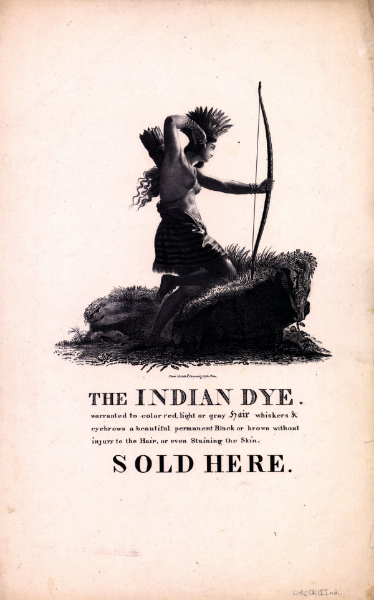 The Indian Dye, 1830-33, print from the American Antiquarian Society catalog records (http://www.americanantiquarian.org/Exhibitions/Beauty/variations.htm)