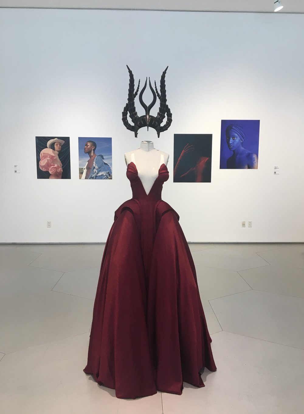 'The Evolution of a Strange Fruit' (gown and headpiece) by Lashun Costor, featured in the exhibition,  Fashion and Race: Deconstructing Ideas, Reconstructing Identities , 2018.