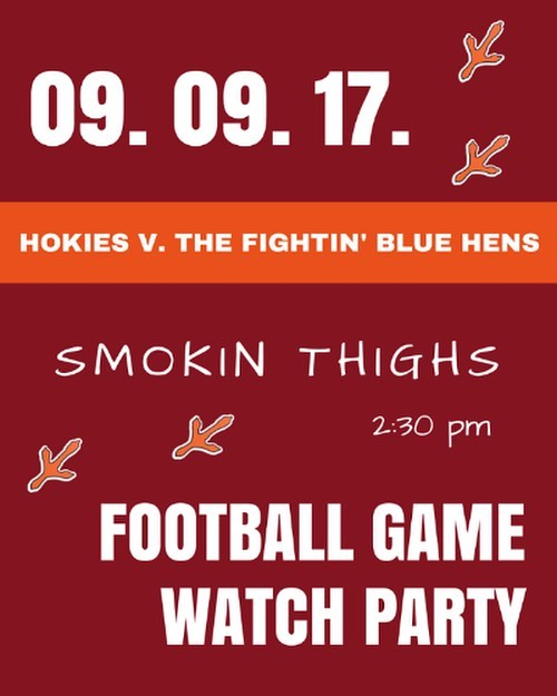 Tomorrow. @smokinthighs. Virginia Tech v. Delaware... Be there!