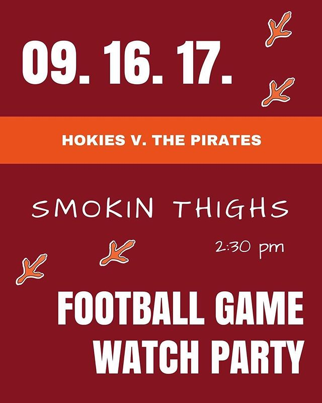 See you all at @smokinthighs tomorrow at 2:30pm... Let's go Hokies!