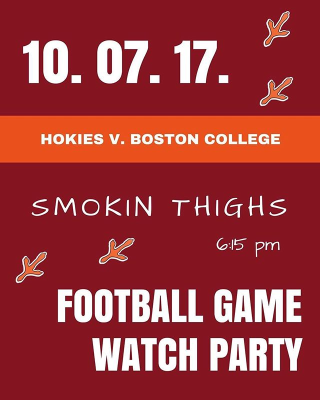See you all tomorrow for our game watch party at @smokinthighs! Let's go Hokies!