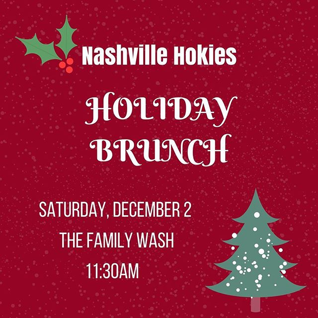 Have you RSVP'ed for our Holiday Brunch this Saturday? Only a few seats left and we'd love to see you there! Send a note to tnhokies@gmail.com if you'd like to join us. 🎁