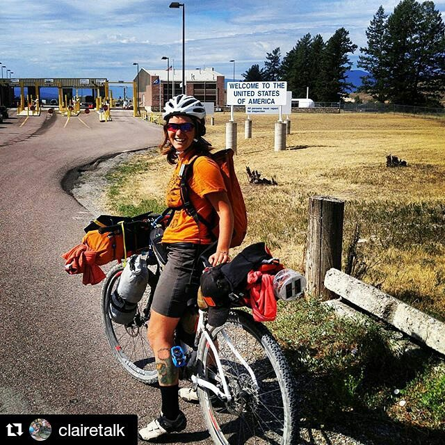 "Looking for a fun follow? Check out @clairetalk journey on the #greatdivide #Repost ・・・ When I told the Customs officer my passport was buried too deep in my pack (true statement), he asked where we were biking. I said ""Mexico!"", and after a brief conversation in Spanish he let us through. Wahoo!  @banffsoul@blackburndesign #blackburnranger #getoutthere #claireonair"