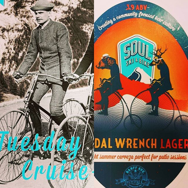 It's Tuesday Cruiseday @banffsoul! Rolling out of the shop for a relaxed #cruise down Vermillion Lakes Road.... Then back for a tasty #pedalwrenchlagers @banffavebrewing #mybanff #banfflife