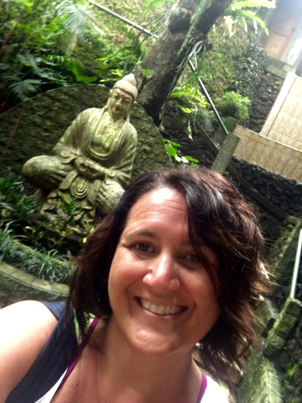 A selfie with a Buddha.  How do you like my rockin' Bali hair?  I have to embrace my curls here.