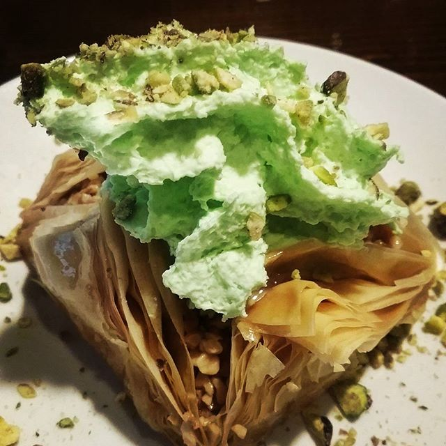 Gigantic bakalva with fresh  pistachio  cream as of tonight. .....knife and fork might be required #sweets #lebanesefood #enmore #newtown